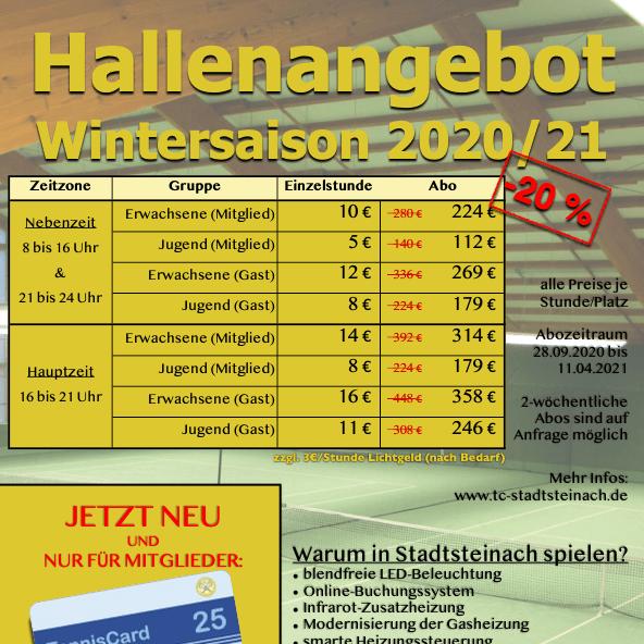 Hallenangebot Wintersaison 2020/21